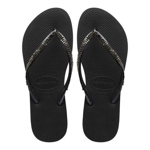 Havaianas Metal Mesh Black & Dark Grey Slim Flip Flops