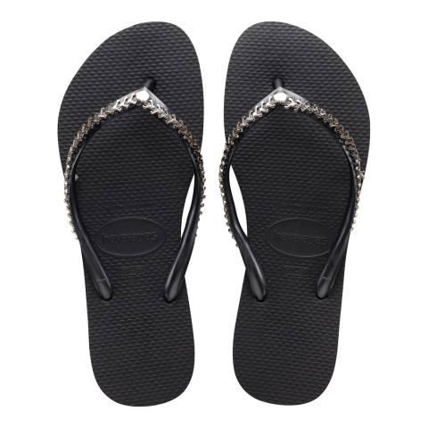 Havaianas Black Slim Metal Grega Sandals