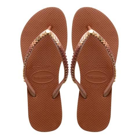 Havaianas Metal Grega Rust Slim Flip Flops