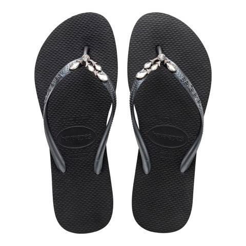 Havaianas Black Slim Lux Swarovski Flip Flop