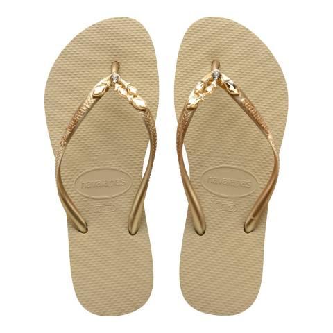 Havaianas Sand Grey & New Gold Slim Lux Flip Flops
