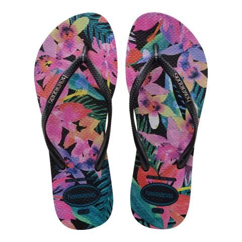 Havaianas Black & Multi Slim Tropical Flip Flop
