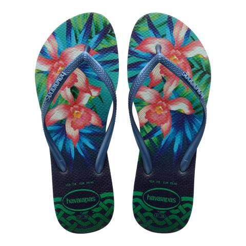 Havaianas Green & Navy Slim Tropical Flip Flop