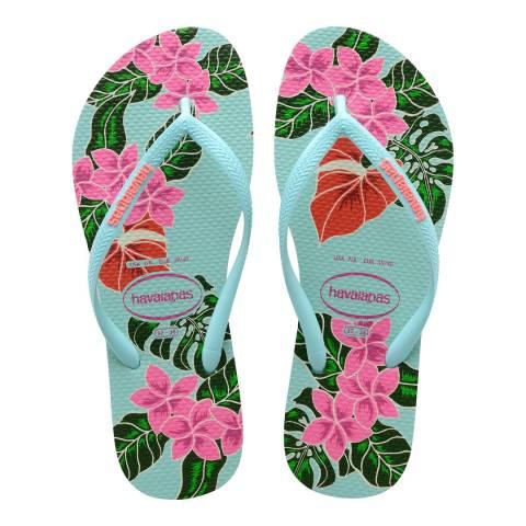 Havaianas Ice Blue Floral Slim Flip Flop
