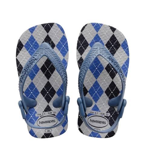 Havaianas Baby Blue/Grey Diamond Flip Flops