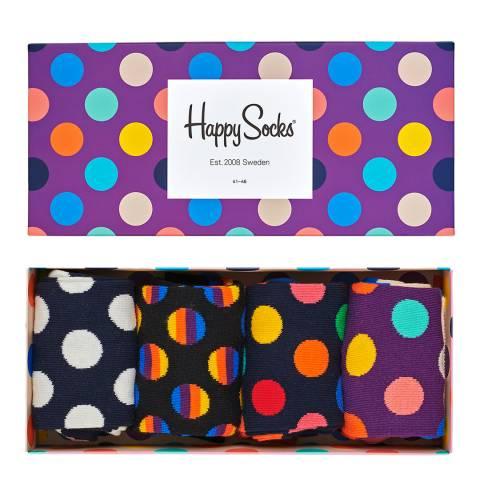 Happy Socks Purple/Multi 4 Pack Dot Gift Box