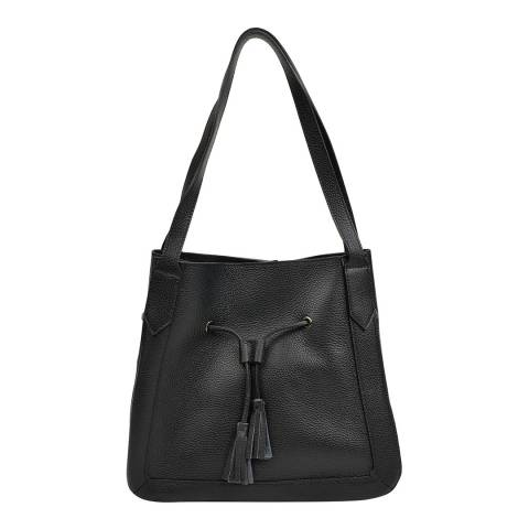 Roberta M Black Leather Tote Bag