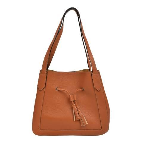 Roberta M Brown Leather Tote Bag
