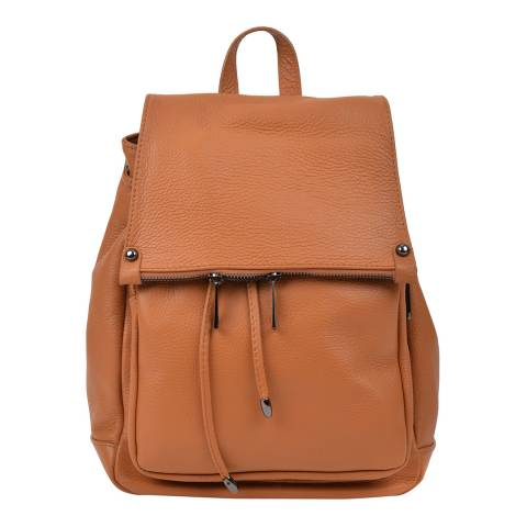 Roberta M Brown Leather Backpack