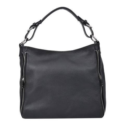 Roberta M Black Leather Tote Bag