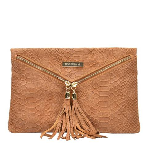 Roberta M Brown Leather Clutch Bag