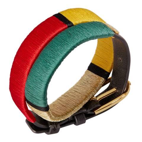 Tory Burch Multi Double Wrap Striped Bracelet