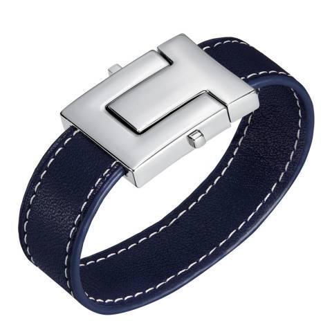 Tory Burch Black Silver T Lock Single Wrap Bracelet