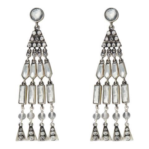Tory Burch Silver Crystal Tassel Earrings