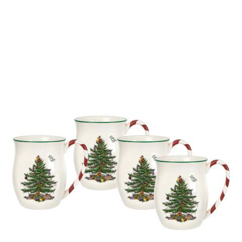 Spode Set of 4 Christmas Tree Mugs with Peppermint Handles