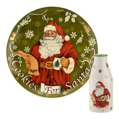 Spode Christmas Tree Santa Cookies Plate & Milk Bottle
