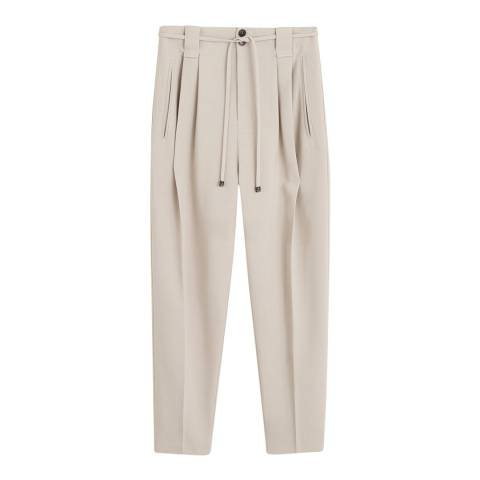 Mango Light/Pastel Grey Pleated Suit Pants