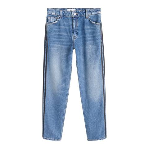 Mango Medium Blue Contrasting Trims Straight Jeans