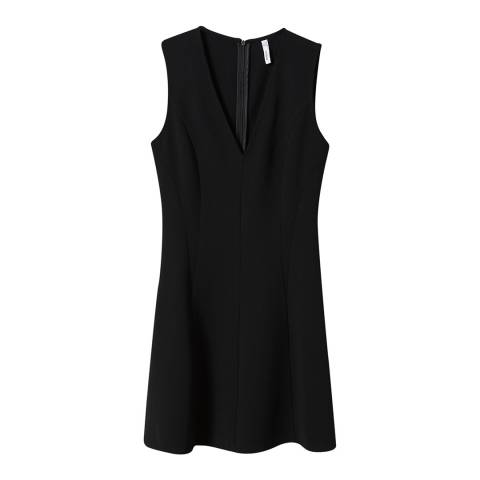 Mango Black V-Neckline Dress