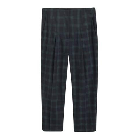 Mango Dark Navy Check Cotton Trousers