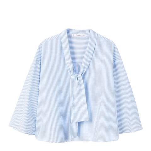 Mango Sky Blue Striped Cotton Blouse
