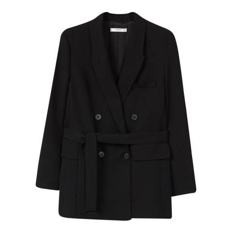 Mango Black Double-Breasted Structured Blazer