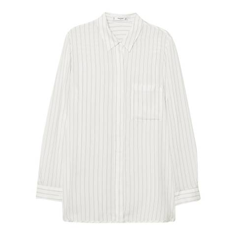 Mango Off White Striped Textured Shirt
