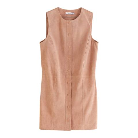 Mango Pastel Pink Leather Dress