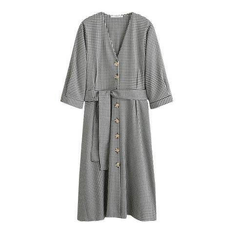 Mango Grey Check Bow Dress