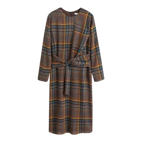 Mango Brown Check Bow Dress