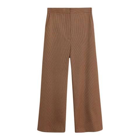 Mango Brown Straight Checkered Trousers