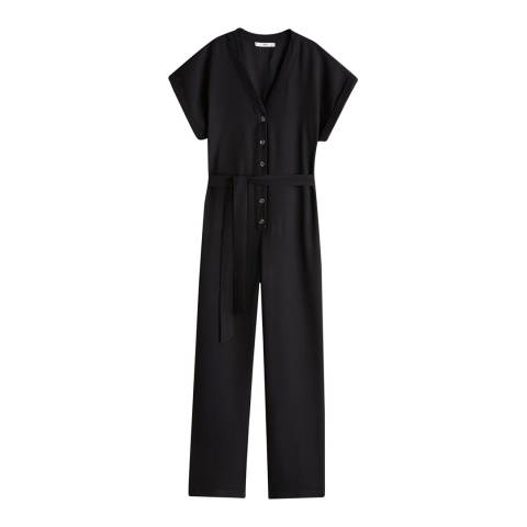 Mango Black Bow Long Jumpsuit