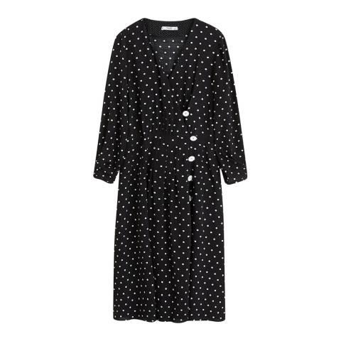 Mango Black Polka-Dot Flared Dress