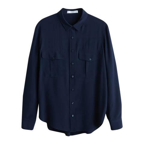 Mango Dark Navy Pockets Flowy Shirt