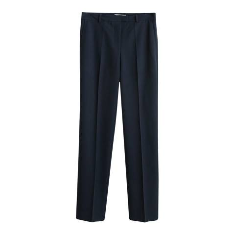 Mango Dark Navy Straight Suit Trousers