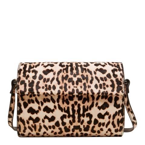 Mango Leopard Print Leather Cylinder Bag