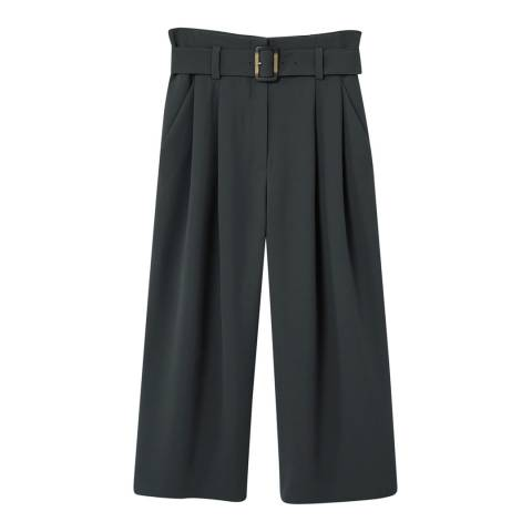 Mango Charcoal Buckle Crop Trousers