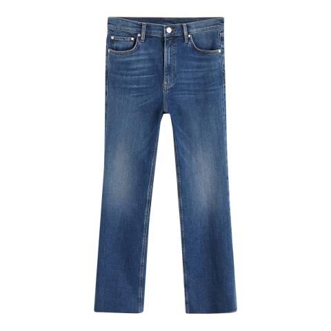 Mango Dark Blue Crop Flared Jeans