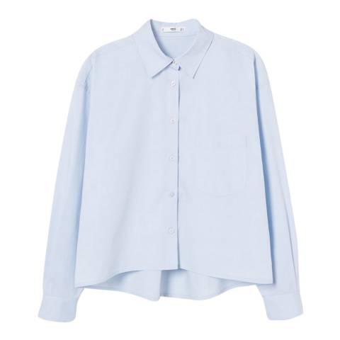 Mango Sky Blue Cropped Cotton Shirt
