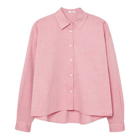Mango Pink Cropped Cotton Shirt