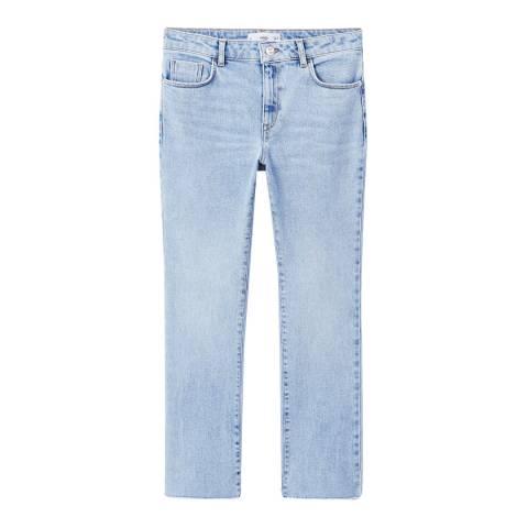 Mango Light Blue Straight Cropped Janie Jeans