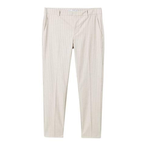 Mango Beige Straight Striped Trousers