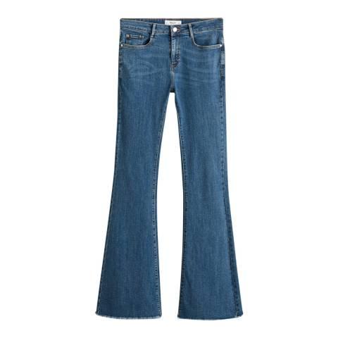 Mango Medium Blue Flared Jeans