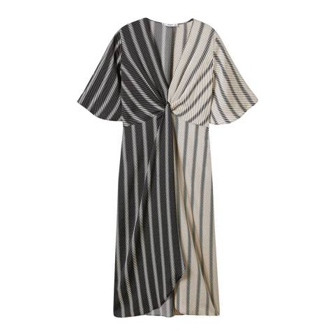 Mango Black Flowy Knotted Dress
