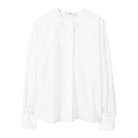Mango White Mao Collar Shirt