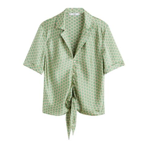 Mango Green Satin Polka-Dot Blouse