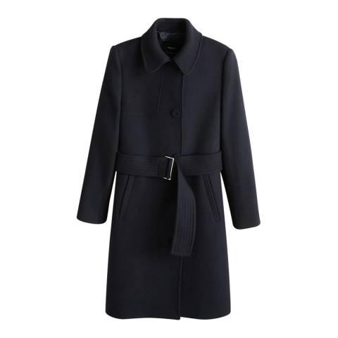 Mango Dark Navy Belted Wool Coat