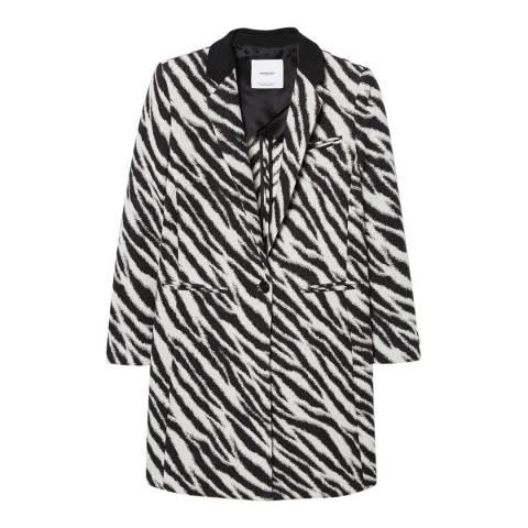 Mango Black Zebra Printed Coat