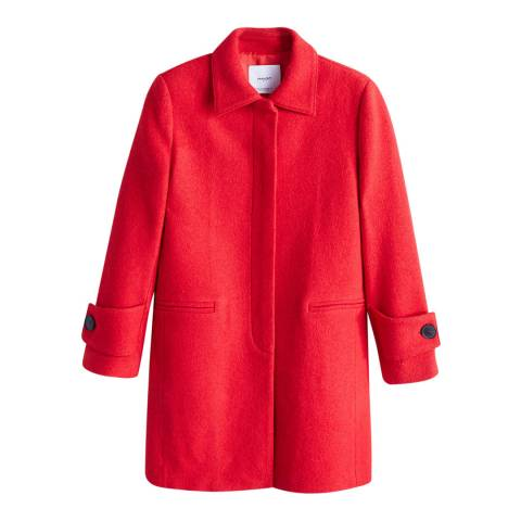 Mango Red Structured Wool Coat