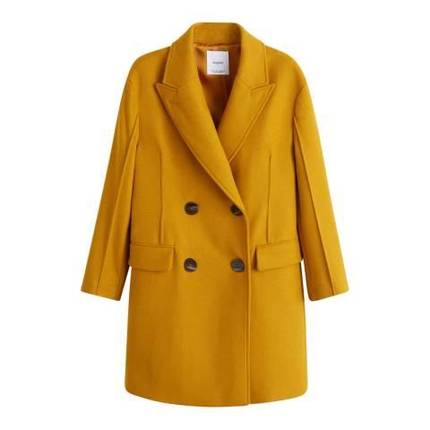 Mango Mustard Unstructured Virgin Wool Coat